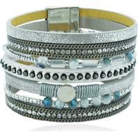 Bracelete Imã Couro Prateado - Feminino
