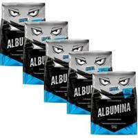 Kit 5X Albumina 500G Sabor Natural Proteína Pura - Unissex-Sem Sabor