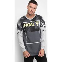 Blusa Moletom Fatal U Rag Logo Masculina - Masculino-Grafite