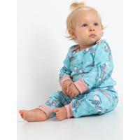 Pijama Longo Bebê De Ribana De Algodão Pernalonga Acuo Feminino - Feminino-Azul