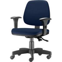 Cadeira Job Com Bracos Assento Crepe Azul Escuro Base Rodizio Metalico Preto - 54605 - Sun House