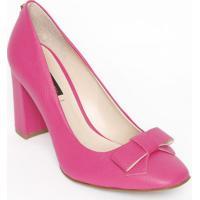 20fcef86c5 Sapato Tradicional Em Couro Com Laço   Tag- Pink- Sajorge Bischoff