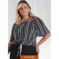 Blusa Plus Size Crepe Feminina Secret Glam Preto
