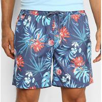 Shorts Jab Estampado Floral Masculino - Masculino-Marinho