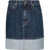 Helmut Lang Minissaia Jeans Femme Com Lavagem Desbotada - Azul