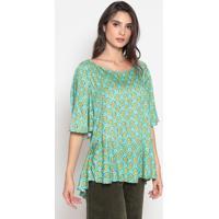Blusa Geomã©Trica - Verde ÁGua & Amarela- Cotton Colocotton Colors Extra