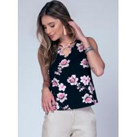 Blusa Com Gota No Decote Floral Rosa
