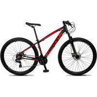 Bicicleta Aro 29 Quadro 21 Alumínio 24 Marchas Freio Disco Mecânico Z4-X Preto/Vermelho - Dropp