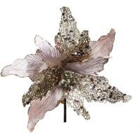 Flor Artificial Decoração Natal Poinsetia Glitter Nude