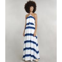 c994ad3df AMARO; Vestido Feminino Dress To Tie Dye Longo Com Fenda Branco
