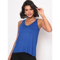 Blusa Lisa Com Renda- Azul Escuro- Thiptonthipton