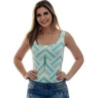 Regata Feminina Estampa Exclusiva Summer Ikat Tiffany Decote Redondo - Feminino-Azul Piscina