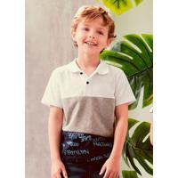 Camisa Infantil Polo Listras Branco