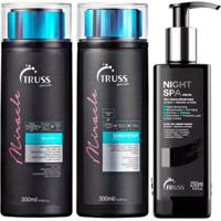 Kit Shampoo + Condicionador+ Sérum Truss Professional Miracle - Unissex-Incolor