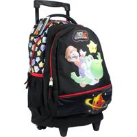 Mochila Com Rodinhas Super Mario 87298591 Preta