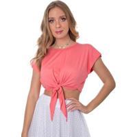 Blusa Cropped Rosa Helena Tricot Garopaba Com Laço - Feminino-Rosa