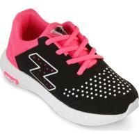 Tênis Zeus Kids Juvenil Zk18-Lx-I - Feminino-Preto+Pink