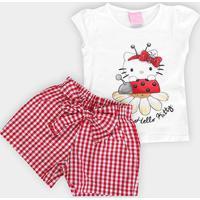Conjunto Infantil Hello Kitty Blusa Cotton E Short Tecido - Feminino-Branco+Vermelho