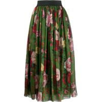 Dolce & Gabbana Saia Midi Com Estampa Floral - Verde