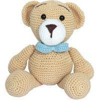 Ursinho Urso Azul Amigurumi Menino Crochê Bebê Decoração Potinho De Mel