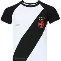 Camiseta Do Vasco Da Gama Base Raglan - Infantil - Branco/Preto