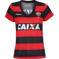 Camisa Do Vitória I 2017 Topper - Feminina - Vermelho/Preto