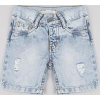Bermuda Jeans Infantil Com Rasgos Azul Claro