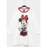 Pijama Infantil Evanilda Camisola Disney Minnie - Feminino-Off White