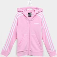 Jaqueta Moletom Infantil Adidas Yg 3S Fz Feminina - Feminino-Rosa+Branco
