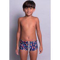 Sunga Juvenil Serra E Mar Modas Box Short Estampada Azul Marinho
