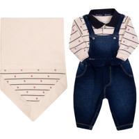Saída De Maternidade Paraiso Piquet E Malha Denim Jeans Bege