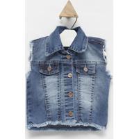 Colete Jeans Com Recortes- Azul Claro- Look Jeanslook Jeans