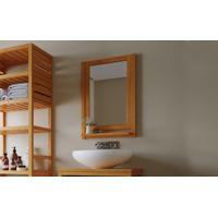 Moldura Com Espelho Em Madeira Maciça Para Banheiro Aquiles - Espelho Compacto Para Banheiro Cor Jatobá - 46X11X67Cm