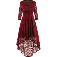Vestido De Renda Curta Na Frente E Longo Atrás Manga 3/4 - Vermelho