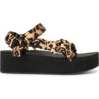 Arizona Love Sandália Plataforma Com Estampa De Leopardo - Preto