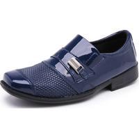 Sapato Social Schiareli Infantil Sintético Verniz 444 Azul