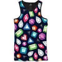 Camiseta Bsc Regata Color Diamonds Full Print - Masculino-Preto
