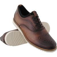 Sapato Oxford Euro Flex Couro Macio Leve Conforto Social Masculino - Masculino-Marrom