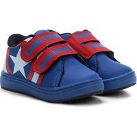 Tênis Infantil Marvel 2 Velcros Capitão América Masculino - Masculino-Azul+Vermelho