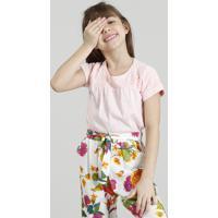 Blusa Infantil Com Renda Manga Curta Decote Redondo Rosê