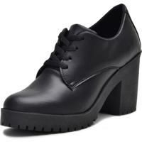 Bota Tratorado Oxford Mr Shoes Cano Curto Preto Fosco