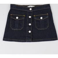 Saia Infantil Jeans Com Bolsos Azul Escuro