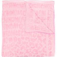 Moschino Echarpe Rosa De Seda E Algodão Com Estampa De Logo