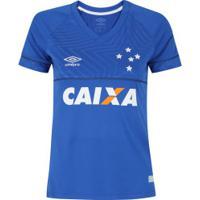 Camisa Do Cruzeiro I 2018 Umbro Com Patrocínio - Feminina - Azul