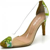 Scarpin Tecido Bico Fino Transparência Flor Da Pele Verde