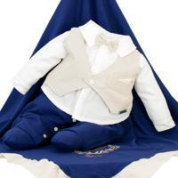 Saída De Maternidade Fofinho Social Gravata Azul Marinho