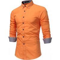 Camisa Slim Fit Forro Quadriculado - Laranja