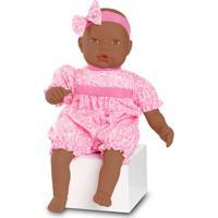 Boneca Bebê - Baby By Jensen - Negra - Macaquinho Pink Com Desenhos - Roma Jensen