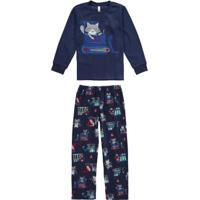 Pijama Azul Marinho Infantil Com Bordado
