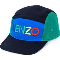 Kenzo Kids Boné Color Block Com Logo - Azul